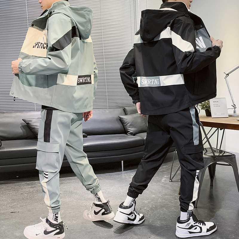 Hommes Survêtement Ensemble 2 pièces costume de loisirs automne streetwear sweatsuit salopette vestes à capuchon + hip hop pantalon de sport Set Harlan