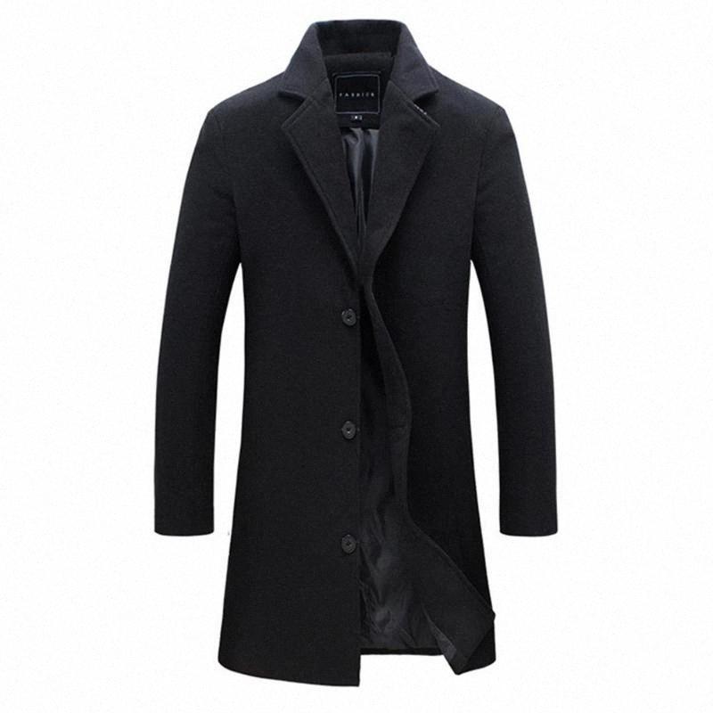 2019 Mode für Männer Wollmantel Winter warm Fest Farbe langen Graben-Jacke Männer Einreiher Business Casual Overcoat Parka Ue9M #