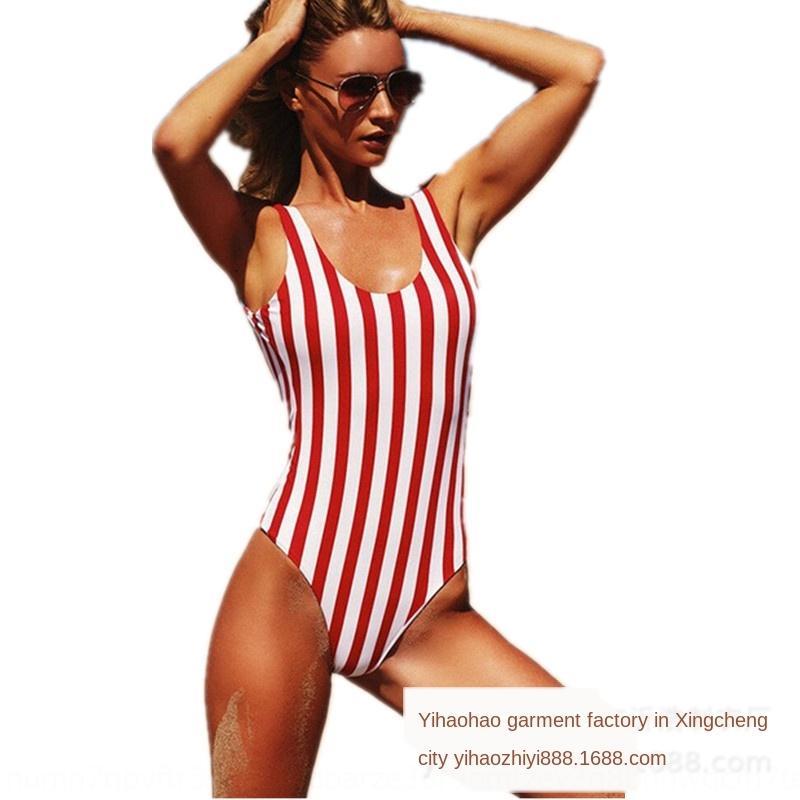 e2S2M 2019 New printed sexy red and white vertical swimsuit bar swimsuit bikini one-piece bikini
