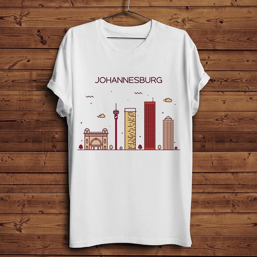 Joanesburgo marco e do horizonte engraçado homens T-shirt do verão nova camisa branca ocasional legal unisex t