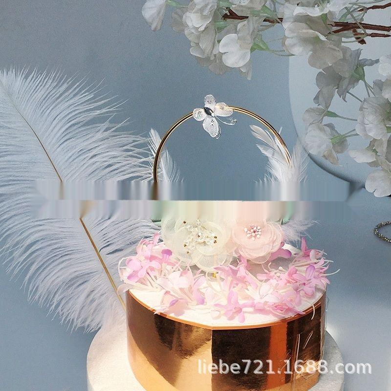 jEhCp Copyright INS vento fiori di primavera farfalla festa battuto Farfalla torta piuma della decorazione della torta PMpkd plug-in decorazione ferro Garland