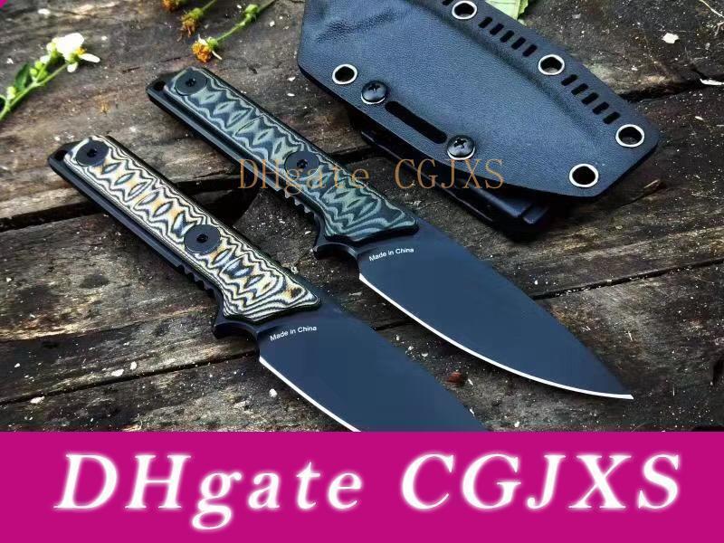 Alta calidad Tad supervivencia cuchillo recto A2 Negro Mango recubierto de titanio Hoja enteriza G10 hoja fija Cuchillos con Kydex