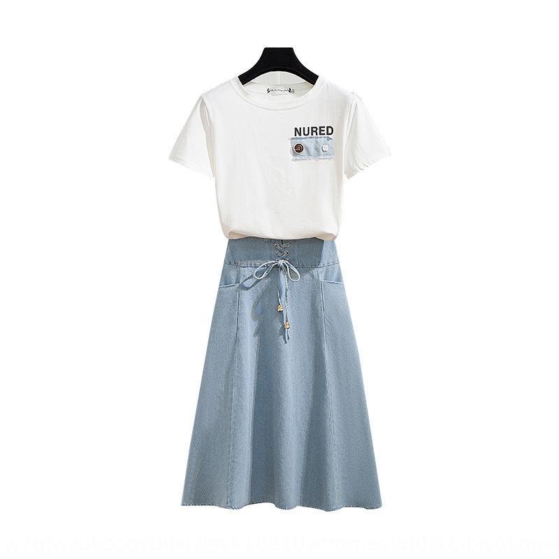 l4xgX летний комплект новый битнику высокий модный женский джинсовый Короткая джинсовая юбка юбка из двух частей набор KjL1r