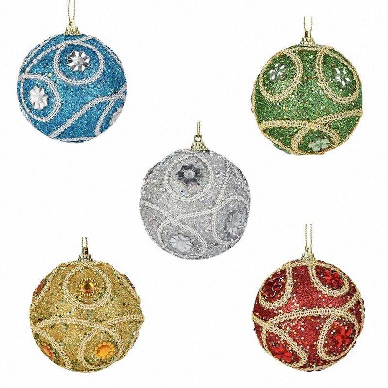 1pc de Navidad de Santa del Rhinestone del brillo Piedras de bola 8 cm del ornamento del árbol de Navidad regalo de la decoración de Año Nuevo Decoración # 2o29 FgKf #