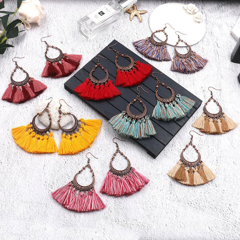 Shineland Bohemian handgemachte Ohrringe für Frauen Weinlese-lange Earrinngs Geschenke Art und Weise Frauen-Ohrring 2020 Schmuck WE020