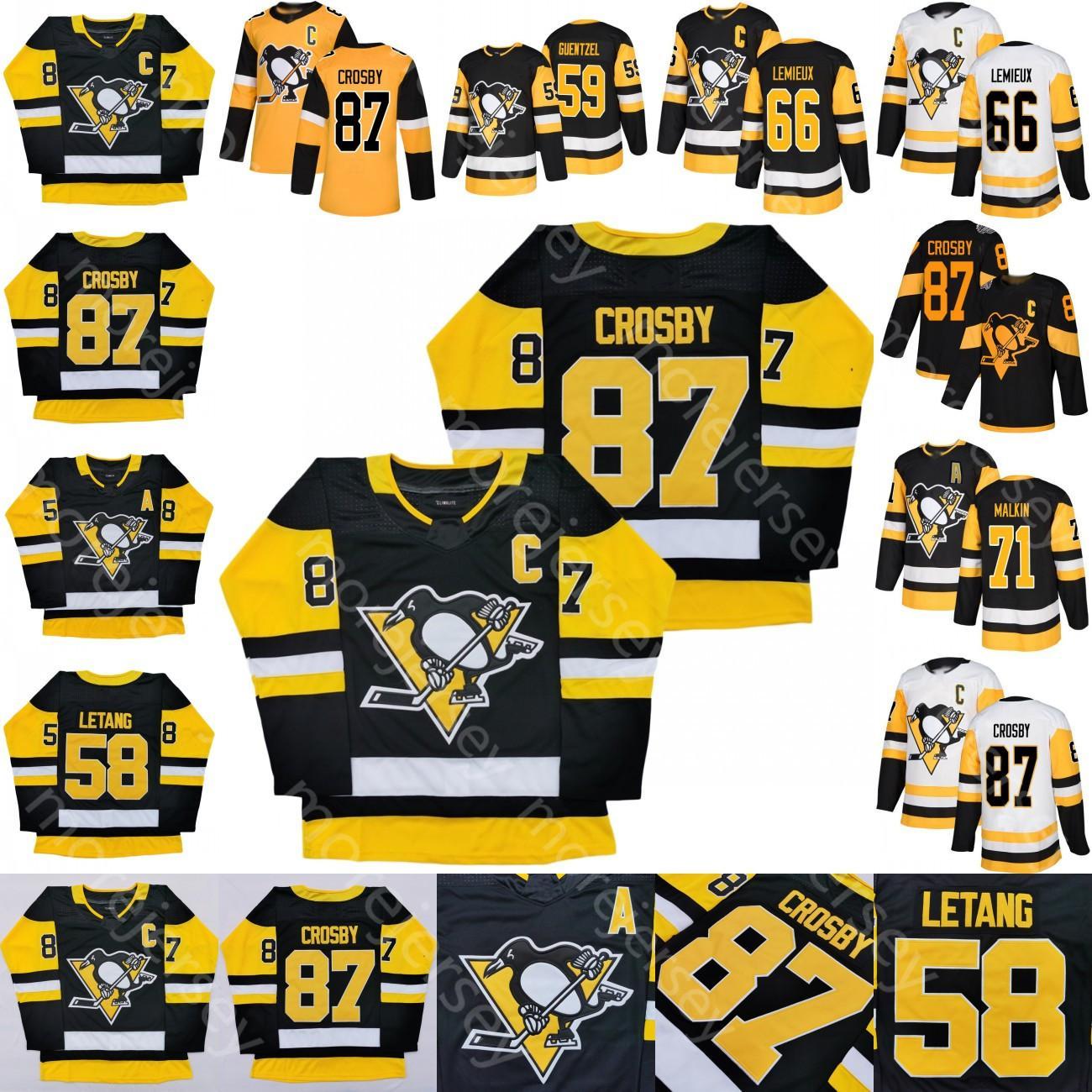 Penguins de Pittsburgh personnalisés Jersey Sidney Crosby Patric Hornqvist Evgeni Malkin Mario Lemieux Matt Murray Kristang Guentzel