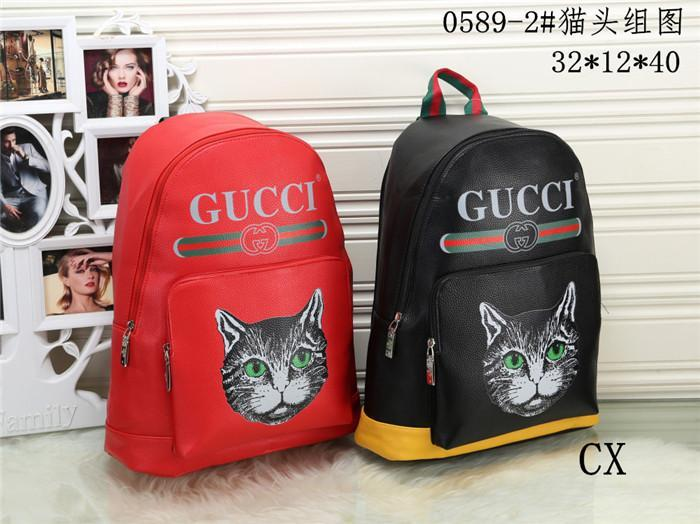 wholesale Hot 2018 Fashion Kitty Retro Backpack New Design Fashion Men's high qualit PU leather backpack Student travel bag Free Delivery