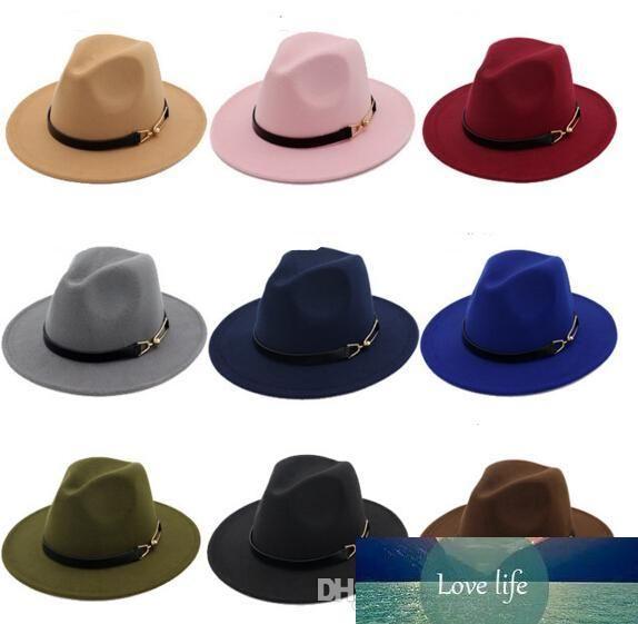 Nueva tapa de la manera sombreros de las mujeres de los hombres de moda elegante de fieltro sólido sombrero de Fedora de la banda ancha plana Brim sombreros con estilo de jazz del sombrero flexible Panamá Caps 30 piezas