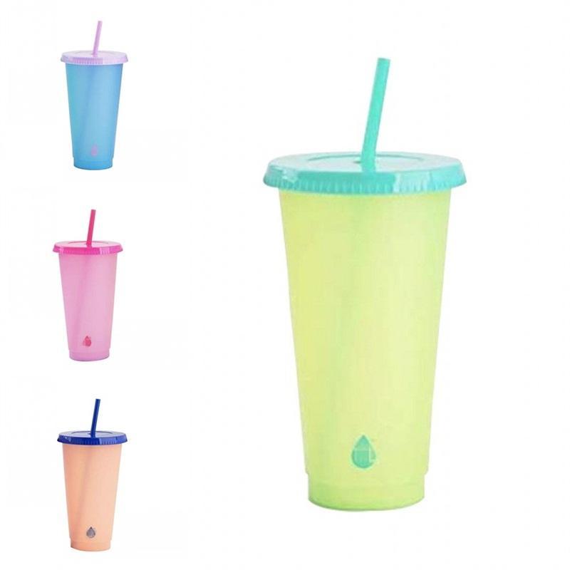 Pp Material Farbe ändert Cup Mode Temperature Sensing Kaffeetassen Absaug- Tubular mit Deckel Tumbler Wiederverwendbare durchsichtigen Kunststoff 5 5HB B2