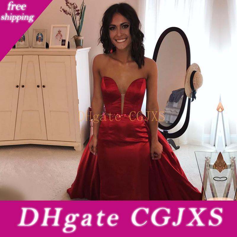 Kırmızı Gelinlik Modelleri ile Ayrılabilir Tren Kristal Kanat Straplez Backless Formal Elbise Akşam Balo Önlükler Abiye Elbiseler De