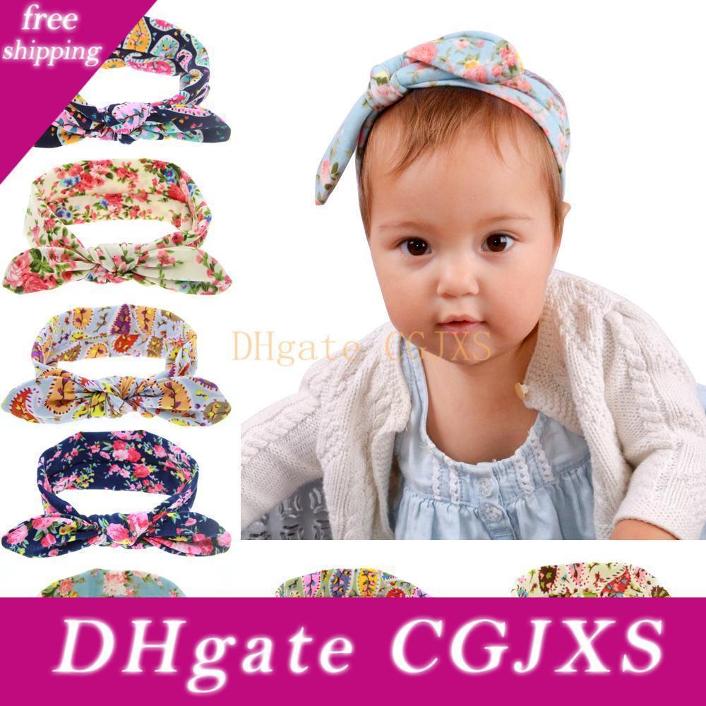 Kinder Kinder Stirnband-Bogen-Baby-Turban-Knoten-Prinzessin Haarband Cotton Häschen-Ohr-Stirnband-Baby-elastischer Blumenhaarschmuck Kha454