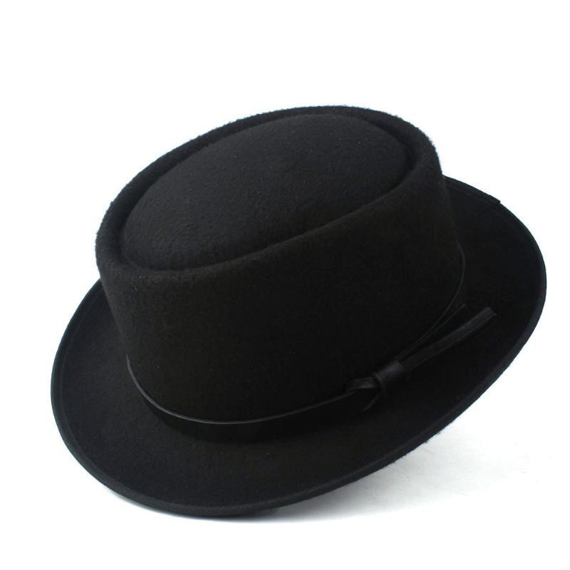 حافة واسعة القبعات أزياء المرأة فيدورا قبعة مع فطيرة لحم الخنزير لسيدة الصوف شعرت تريلبي fascinator شقة الحجم 58 سنتيمتر