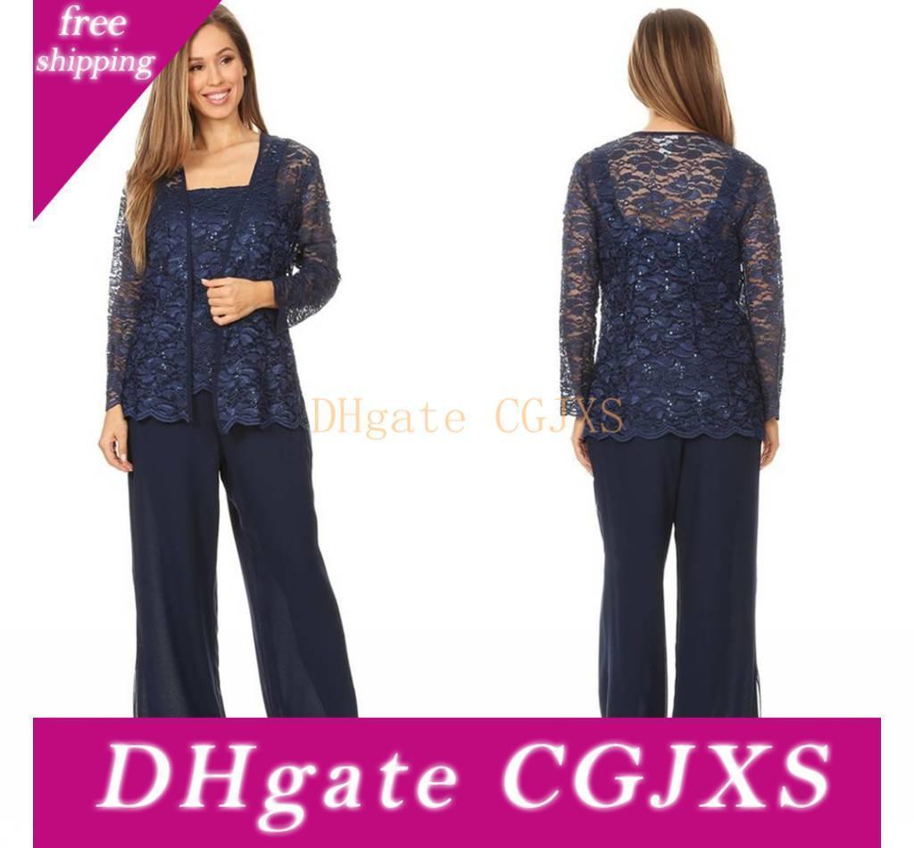 2020 Dark Navy cordón elegante de gasa madre de los trajes de novia pantalón con chaqueta de manga larga de las correas de los pantalones más el tamaño de noche formal del novio