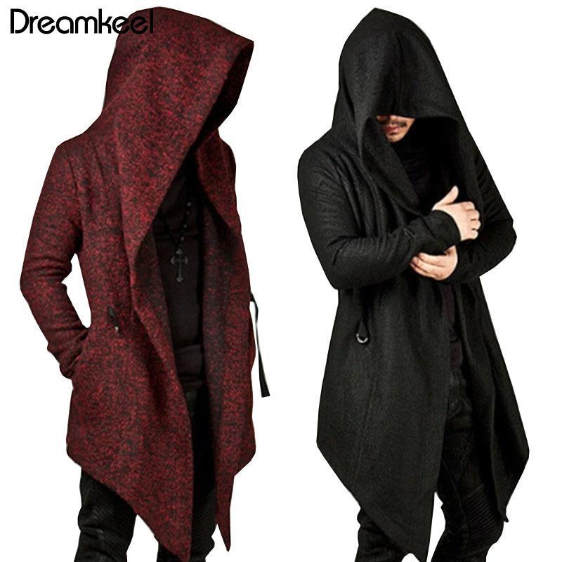 2019 Hommes Sweats à capuche noire Hip Hop Mantle Hoodies Mode Veste longue Manteaux homme Cape manches Outwear Vente chaude Y CX200826