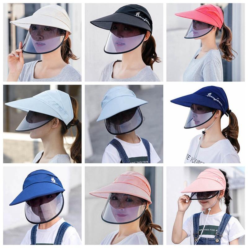 Adultos Niños anti-UV Lente sombrero femenino de dos capas de plástico de ala ancha sombrero para el sol verano ocasional libre que gira superior vacío del casquillo del visera de plástico