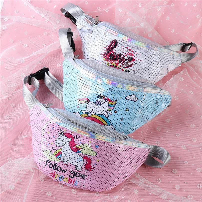 1PC Fashion Mermaid Pailletten Frauen Unicorn Hüfttasche Damen Glitter Travel Money Telefon Fanny-Beutel-Schulter Umhängetasche Brusttasche