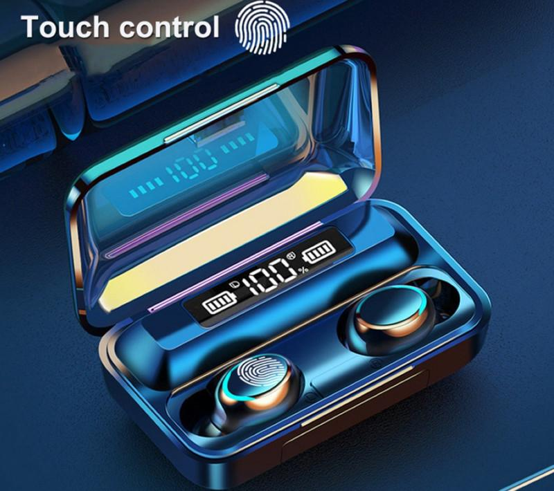 f9-5c TWS 블루투스 5.0 무선 헤드폰 이어폰 9D 스테레오 스포츠 방수 무선 이어폰 터치 컨트롤 헤드셋 이어폰