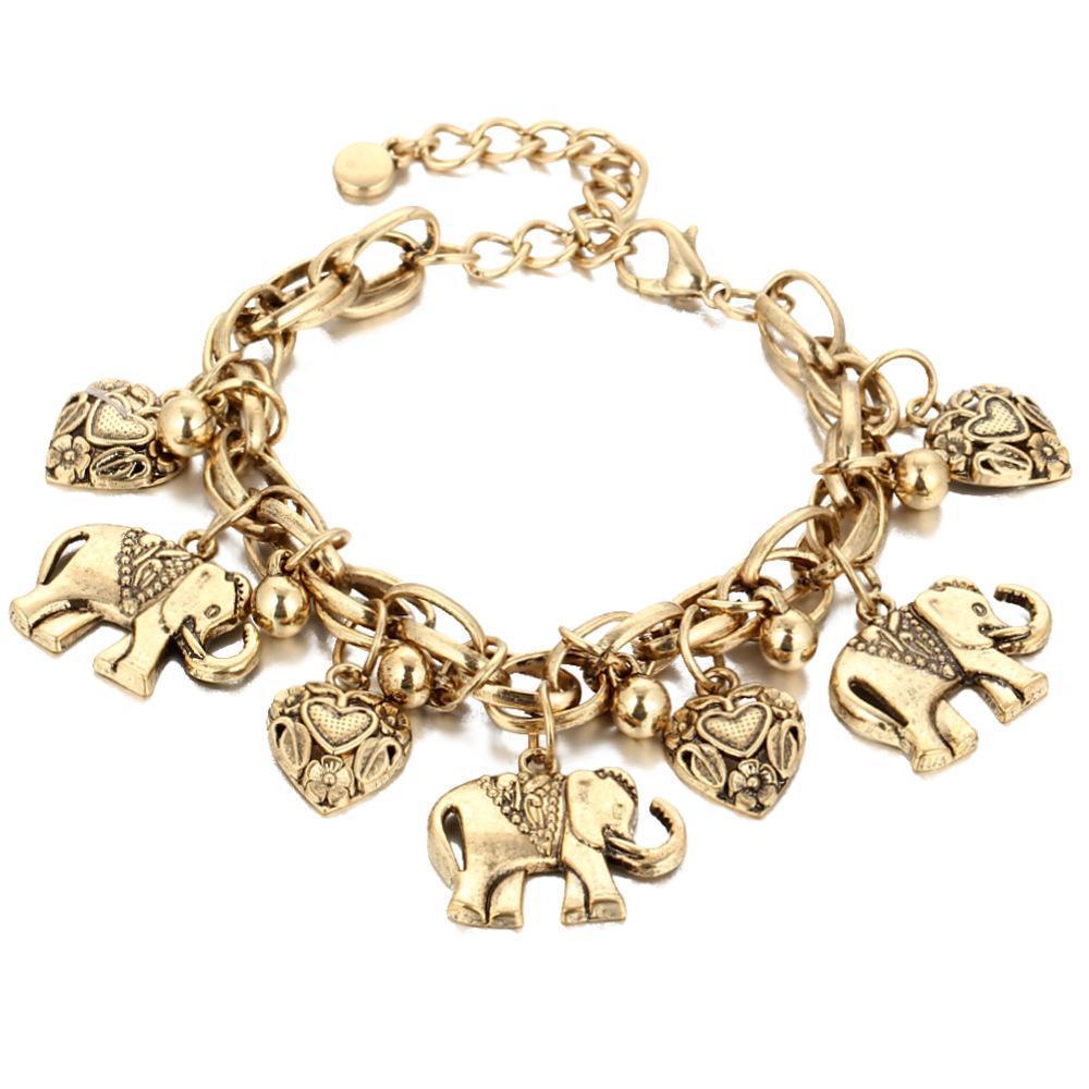 Слон Charm ножной для женщин Vintage сердца Босиком сандалия Foot Jewelry Bohemian Золота Серебра Цветого лодыжке браслет 1 Pcs