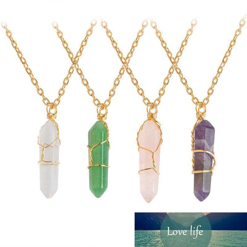 Prisma hexagonal piedra cristalina de los collares de la bala Chakra Colgantes con piedras para la joyería de las mujeres de la señora Fashion regalo voluntad y la nave de la gota de arena