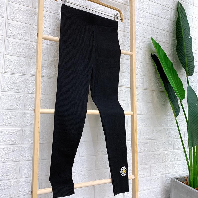 Leggings bordados Daisy cor do contraste de nove pontos de algodão de alta elástica calças apertadas das mulheres Sports calças apertadas bordado collants grande siz