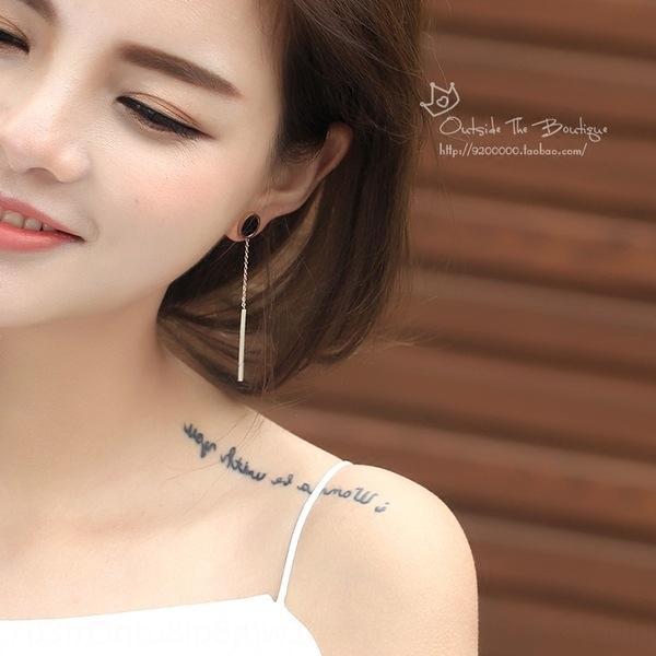 hjPed japonés y coreano simple colgante de la forma larga de titanio no desvanecimiento Corea del estilo elegante antialérgico pendientes penda redonda de acero de las mujeres