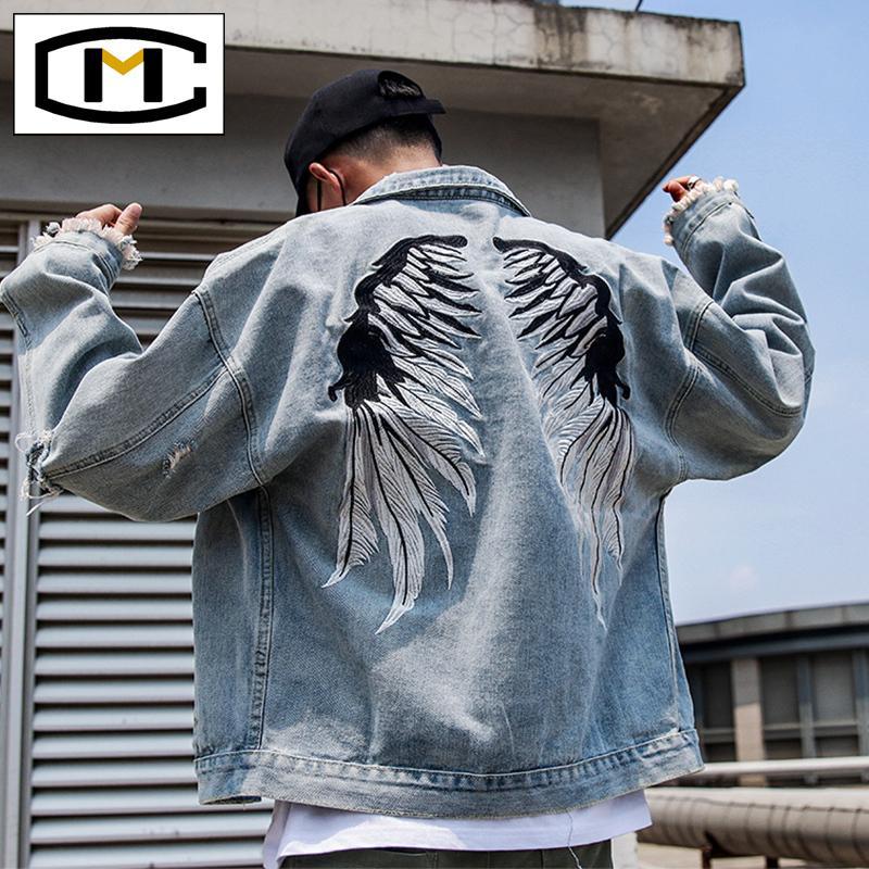 Ripped denim jacket men's loose fashion street denim coat Korean style trendy handsome clothes embroidered jacket