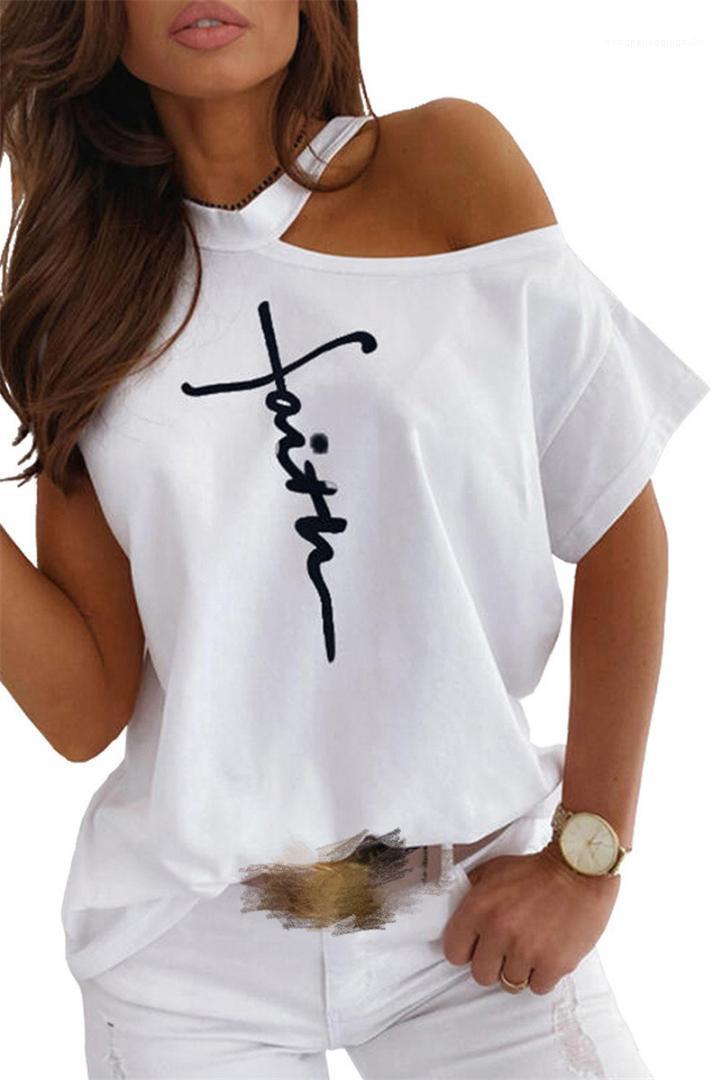 Yaz Kadın Yeni Stil Tişörtler Moda Letter Desen Doğal Renk Tişörtler Casual Off-Omuz Kısa Kollu Tişörtler