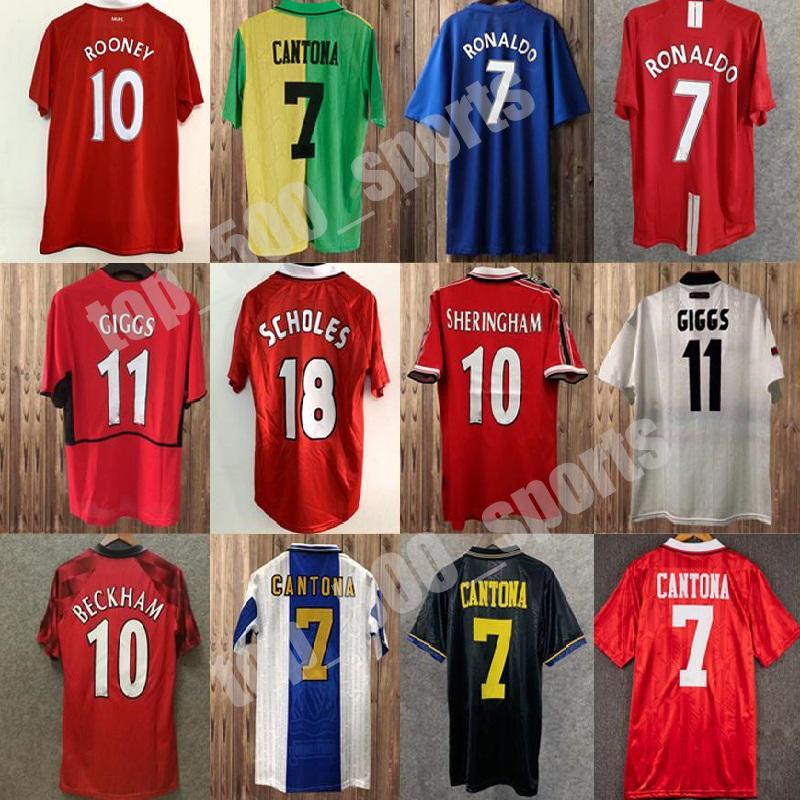 92 98 Cantona Giggs Keane Mens 레트로 축구 유니폼 98 04 Beckham Solskjaer Scholes 11 Ronaldo Ferdinand Rooney Chicharito 축구 셔츠