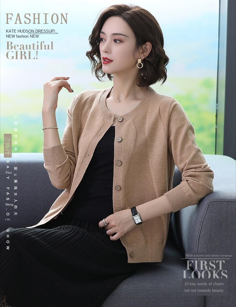 2019 осени / зима нового пальто свитер женщины все соответствует короткой круглой шее кардигана потерять сплошной цвет свитера пальто женской одежду