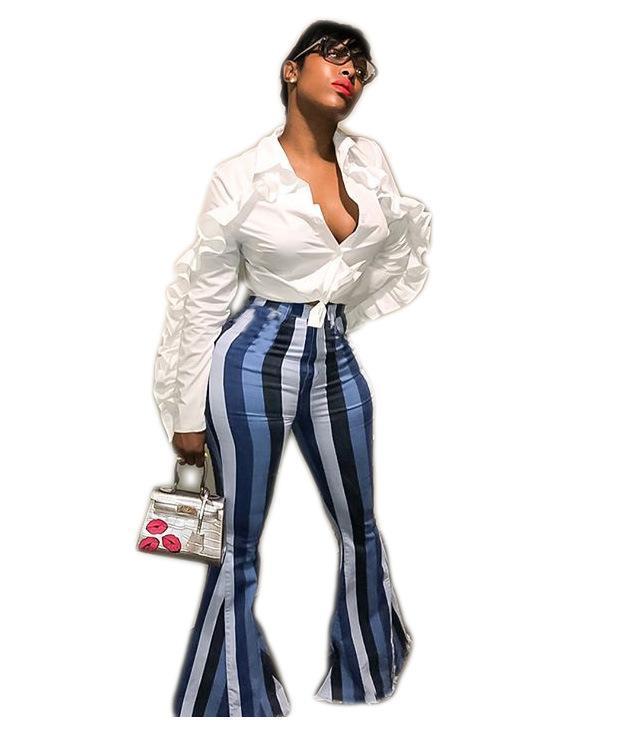 Use pantalones de cadera ocasional de la calle de alta paquete de la cintura Famale manera de las mujeres de rayas de arranque, pero Pantalones
