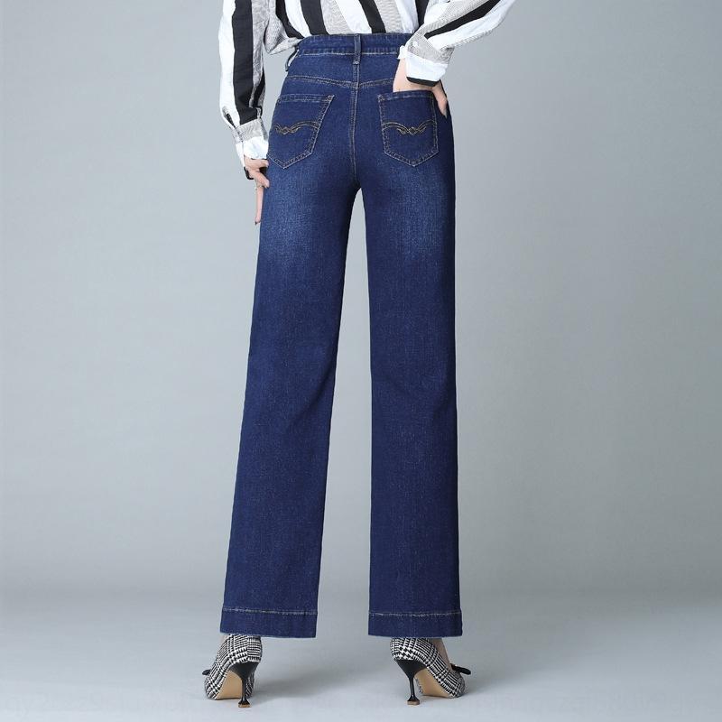 6UgeZ 7kN5J 2020 jean été et d'automne des jeans en vrac ainsi que la mode taille occasionnels ainsi que les pantalons de femmes adipeuses pantalon droit jambe large de femmes à haut wai