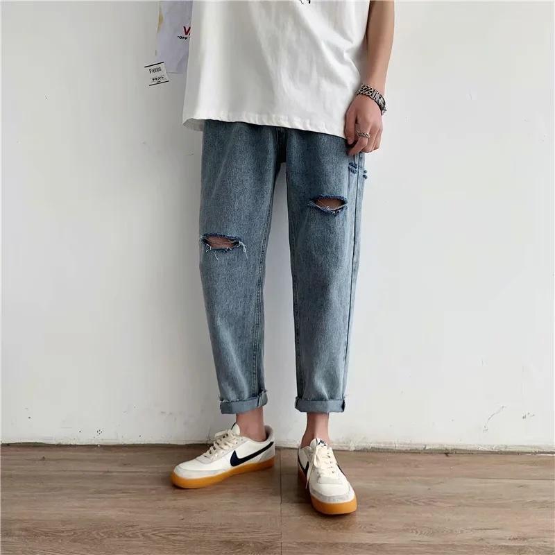 Sn5js İnternet ünlü ins erkek gevşek moda sokak kesilmiş öğrenci düz geniş bacak sökük baba kot ve kot pantolon