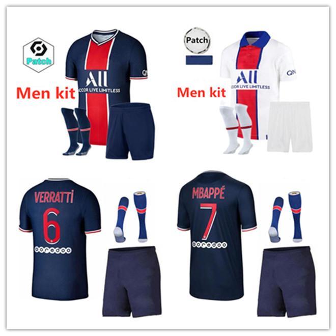 20 21 MBAPPE взрослый комплект maillots-де-футовый футбол Джерси 2020 2021 домашний костюм ICARDI DI МАРИЯ VERRATTI Marquinhos Майо Footba Наборы