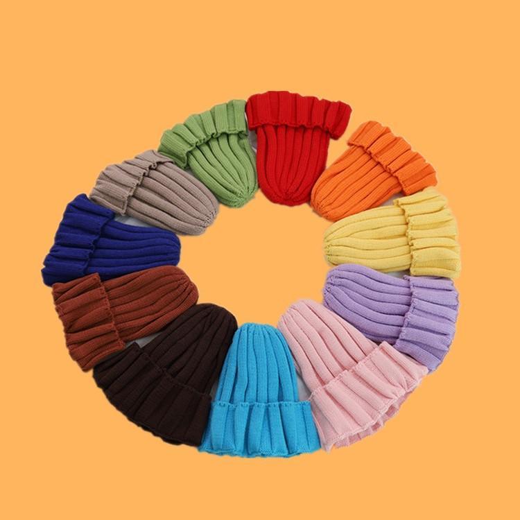 SICAK 60PCS Kid Örgü Şapka Şeker Renk Erkekler Kızlar Moda Gevşek Örgü Şeker Şapka Çocuk Kış Beanie 15 Renk T500143 Caps
