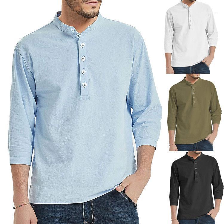 Bekleidung Herren Stehkragen Lässige T-Shirt Einfache Solid Color Langarm Frühling Männlich Kleidung lose Homme