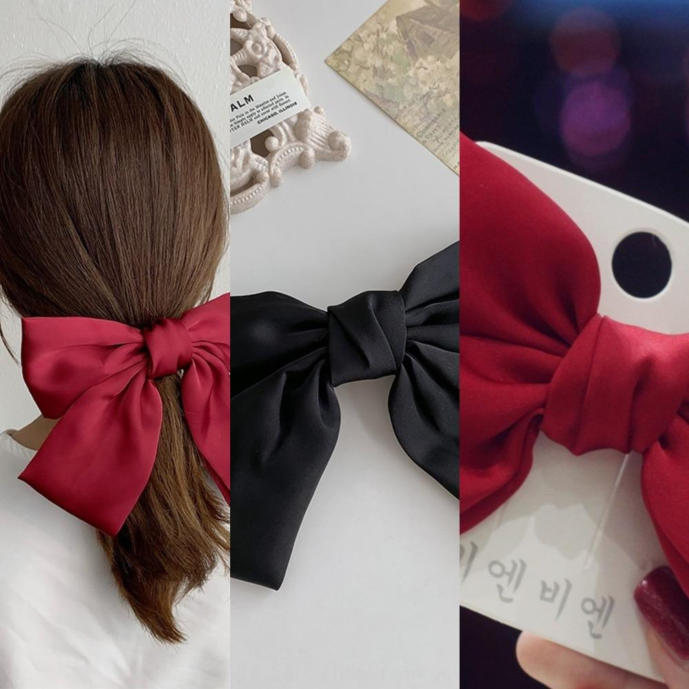 Zhou butterfly butterfly Yangqing same super large wine red bow hairpin adult children Princess top clip head spoon Korean hairpin yq9AU yq9
