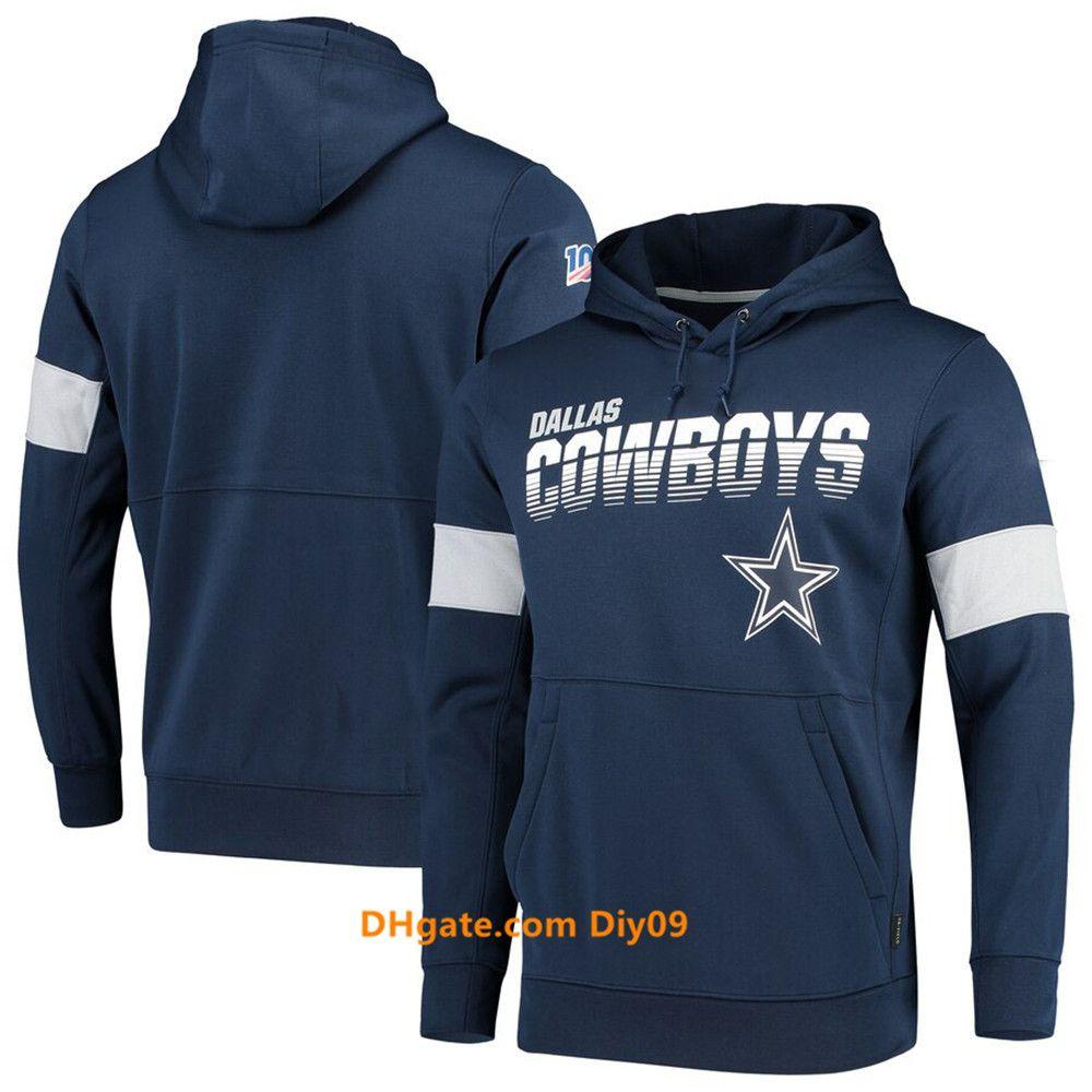 DallasHerrenCowboysSweatshirt Vintage-Sideline-TeamNFL Authentic Leistung Pullover Luxus Hoodie