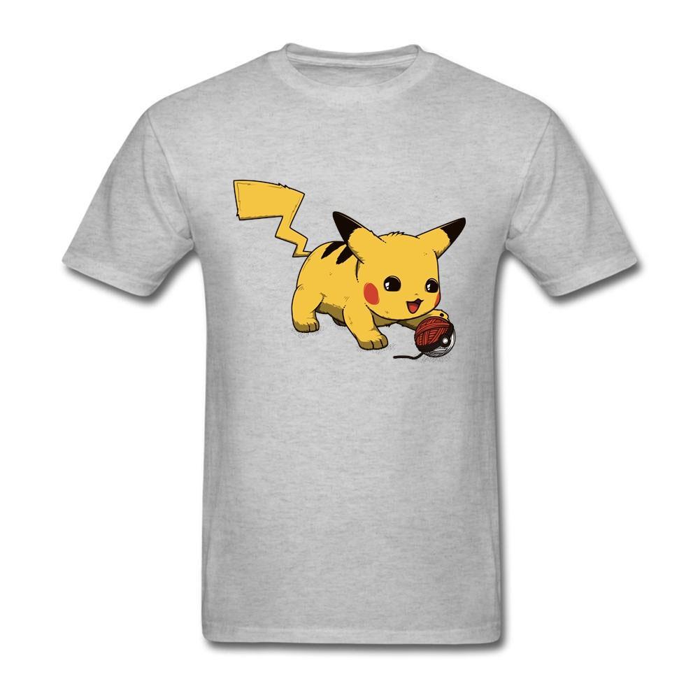 Home Use Juvenil Picatchu Manga corta ropa de antes del algodón camiseta de la diversión Camisas de hombre camisetas XXXL
