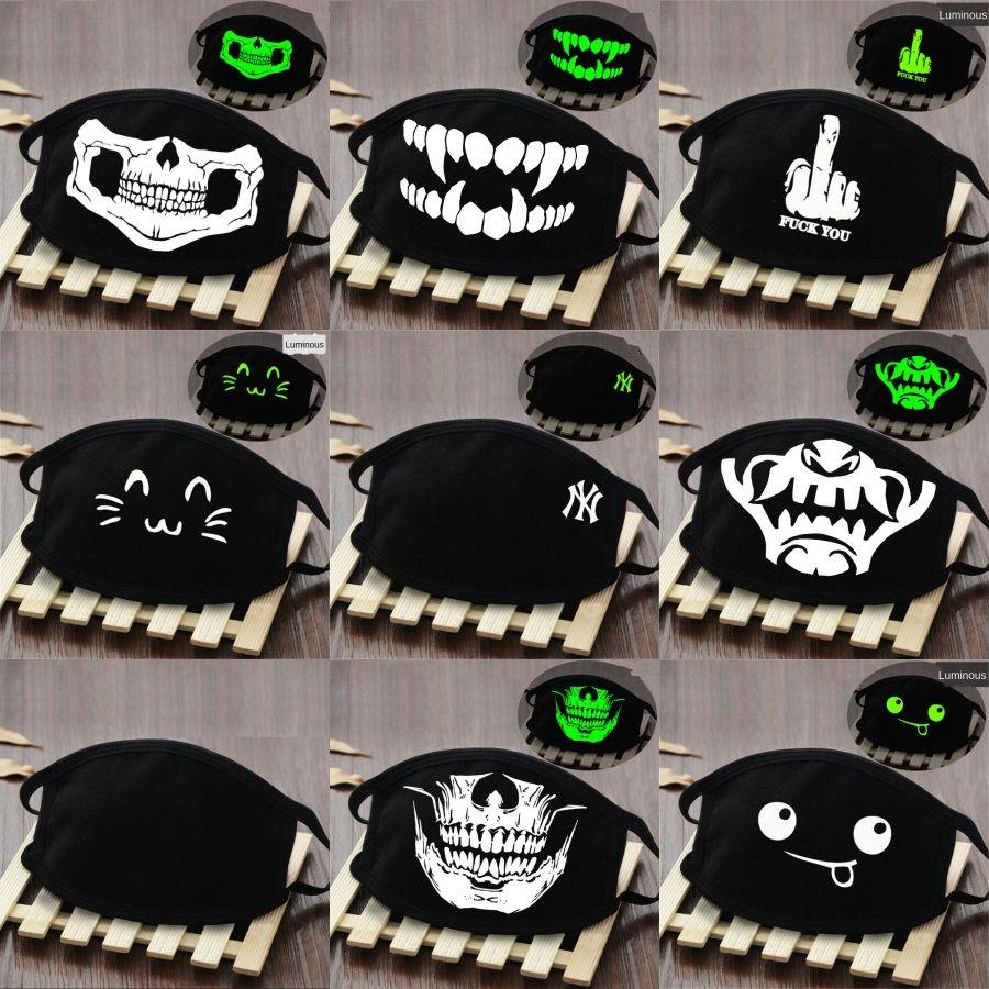 Mode unisexe Coton Masques lumineux PM2,5 bouche Masque Masque réutilisable tissu avec 2 filtres Zipper Designer Imprimé Masque # 723 # 370