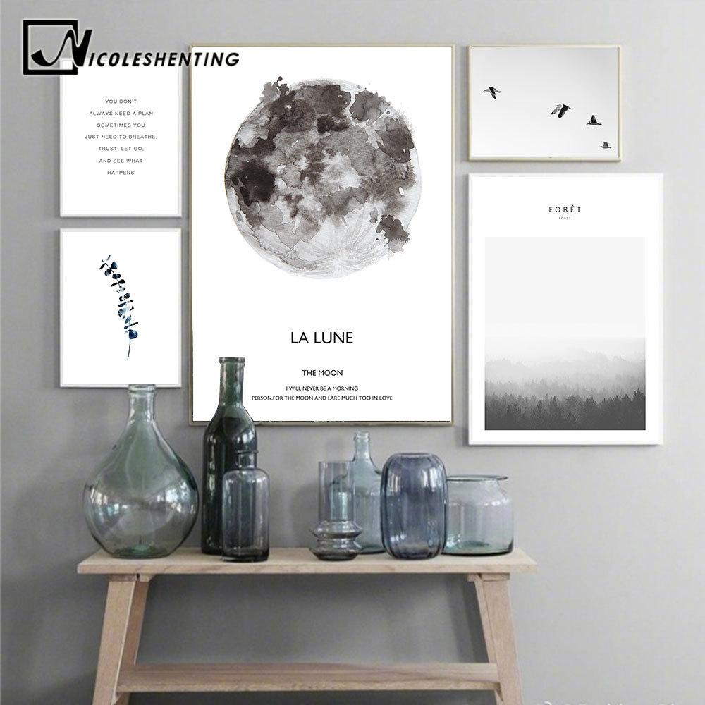 Scandinavian Landschaft Mond Lune Leinwand Poster Motivation Nordic Art-Wand-Kunstdruck Malerei Dekoration Pictures Home Decor