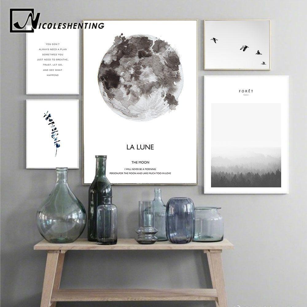 Arte de la pared del paisaje escandinavo Luna Lune cartel de la lona de motivación nórdica estilo de impresión Pintura Decoración Cuadros Decoración