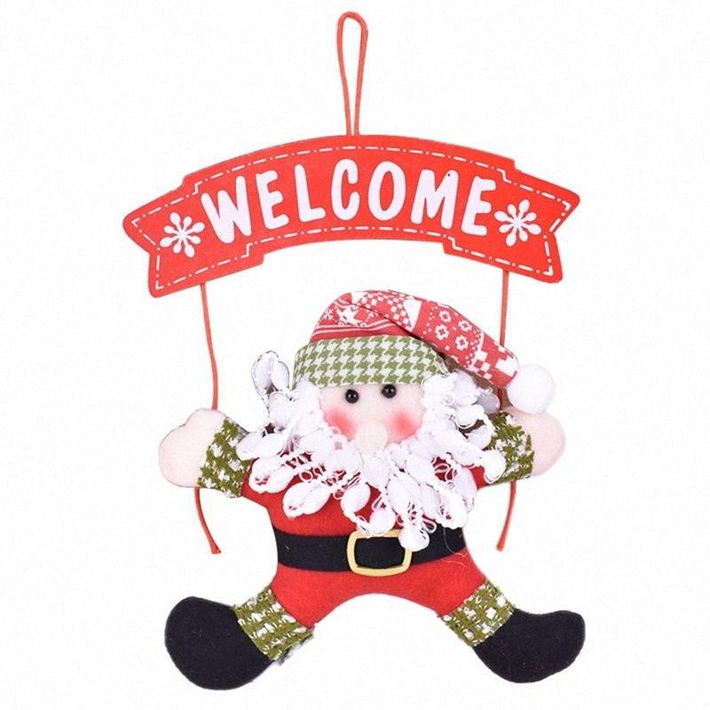 2018 adorno de Navidad de Santa Claus muñeco de nieve árbol de Navidad Decoración de puerta Para el hogar Decoración del ornamento colgando colgante yBXK #