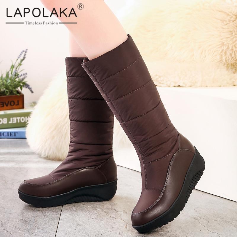 Lapolaka 2020 Hot Sale Tamanho Grande 44 Slip On Add pele morno do inverno Mulher Botas Sapatos Plataforma Confortável Mid Calf Female Boots