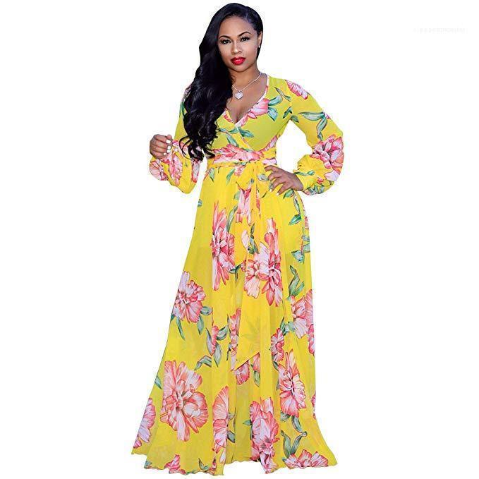 Mode Casual Vêtements Femmes imprimé floral Robe en mousseline de soie Printemps Designer taille haute V N Eck Taille Plus Robes femelles manches longues