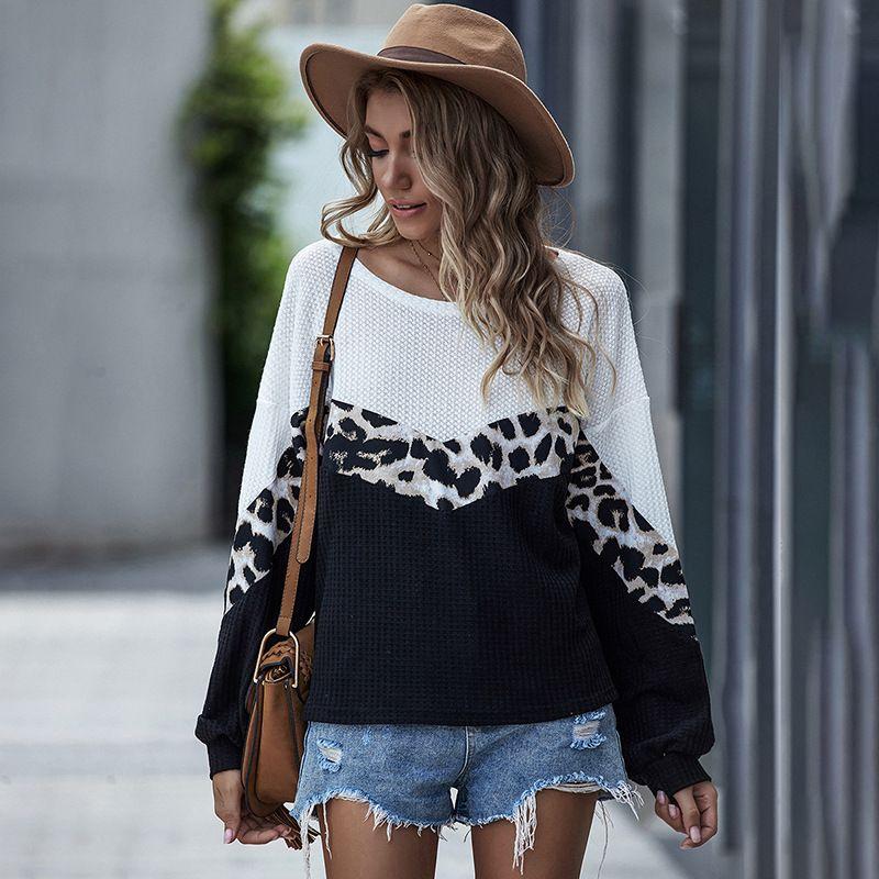 De manga comprida T-shirt leopardo patchwork blusa gola