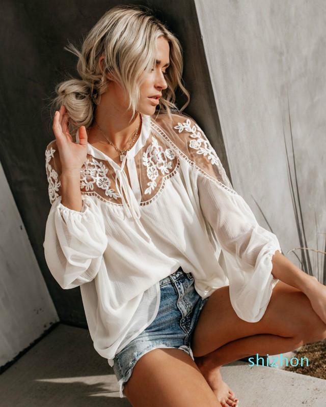 Sıcak Satış 20190629 Seksi Dantel Mesh Gömlek Nakış Patchwork Kadınlar Casual Uzun Kollu Şifon Bluz Bayanlar Gevşek Gömlek Kadın Blu Tops