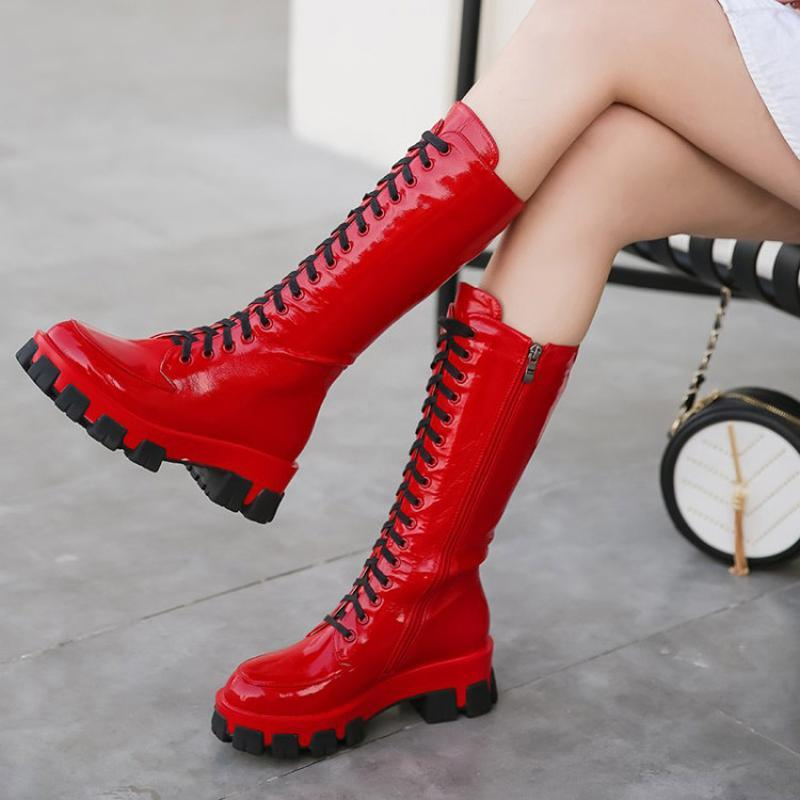 الصلبة ستوكات العليا المرأة مكتنزة كعب جولة تو الركبة أحذية عالية الانزلاق على منصة أحذية عالية أزياء قتالية عالية الجوارب