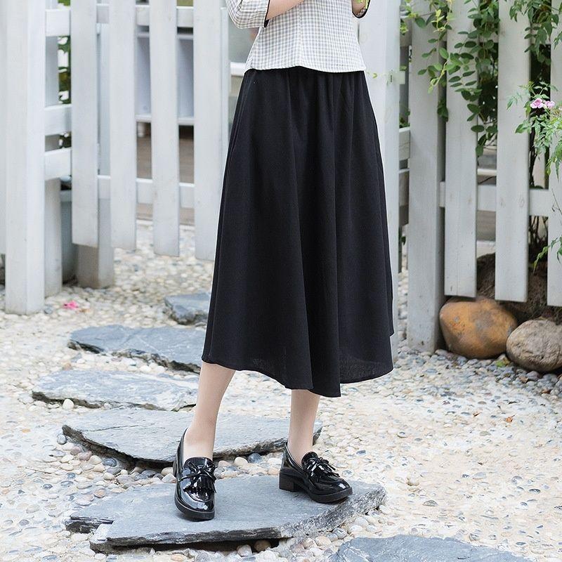 709 новых весной и осенью большой полотняный сплошной цвет сшивание сращивания сращивания Длинные пэчворк юбка длинная юбка