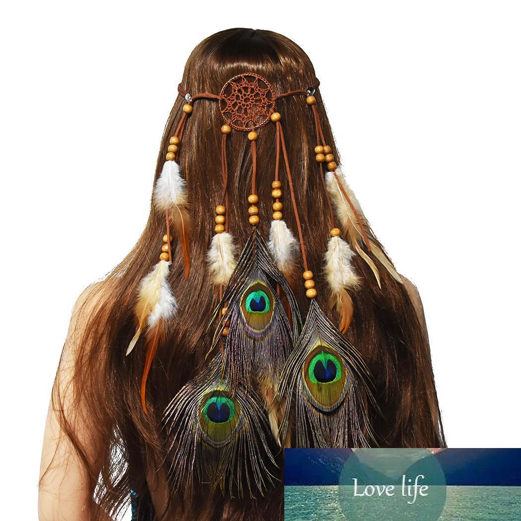 Cadenas almacén de los EEUU Hippie Dreamcatcher Cabeza tribal de Boho de la pluma del casco con los granos de la pluma banda para el cabello accesorios para el cabello