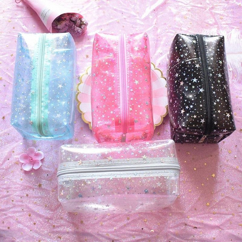 Les femmes PVC petits sacs de maquillage transparent Voyage Creative cosmétiques Sac de lavage Pochette de beauté coffret de rangement Sac de toilette Effacer Star Pink K3jO #